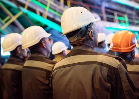 Strike of workers in a heavy industry.