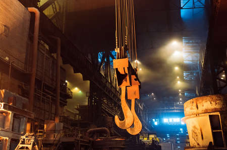 Melting of metal in a steel plant. Metallurgical industry.