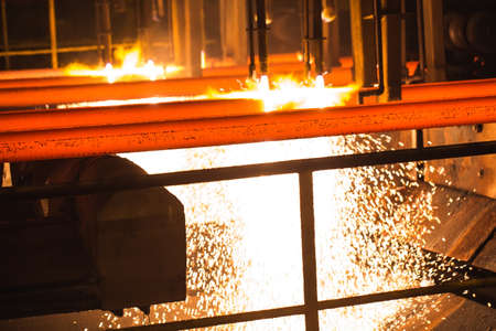 Steel Billets at Torch Cutting. Industrial Technology.