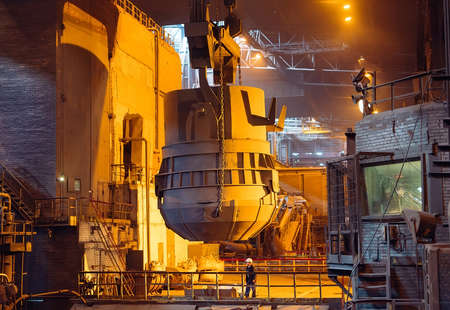 Open-hearth workshop of a metallurgical plant industry Imagens
