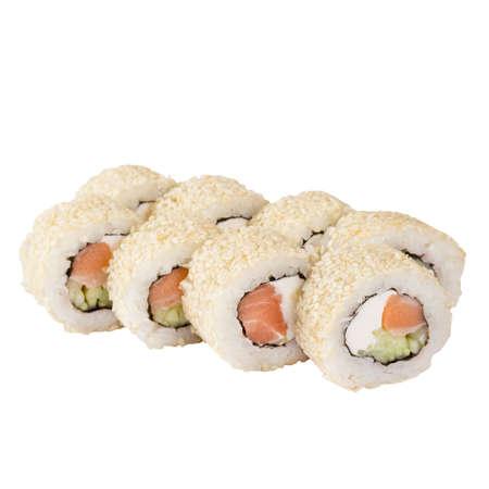 Sushi Set close- up isolated on a white background.