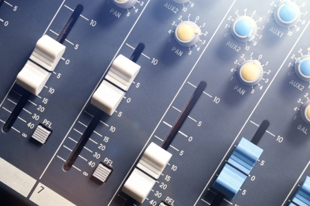 audio mixer top view with flare Stock Photo