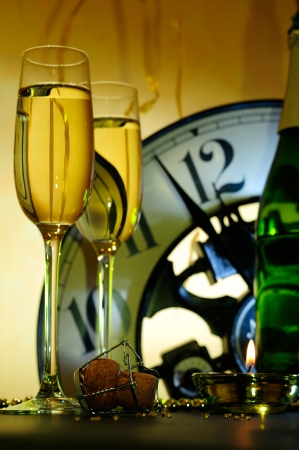two glasses and clock waiting for the new year Stock Photo
