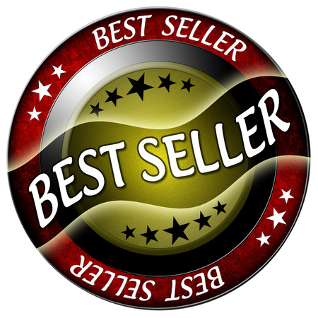 best seller round red icon isolated photo