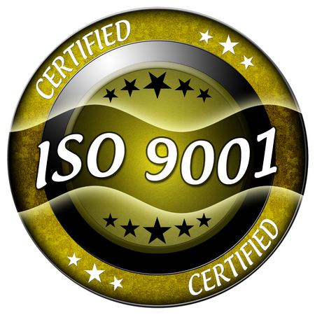 Iso 9001 round gold icon isolated photo
