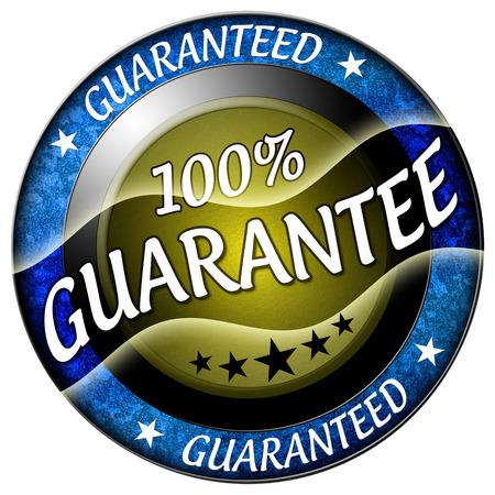 100 guarantee round blue icon isolated
