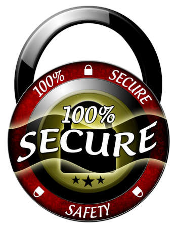 100 secure padlock red icon isolated