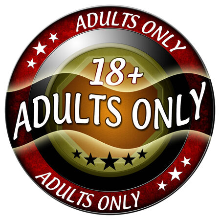 18 adults only round red icon isolated photo