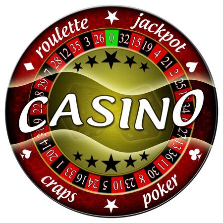 casino illustration round red isolated