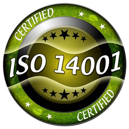 standardization: Iso 14001 round green icon isolated Stock Photo