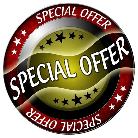 special offer round red icon