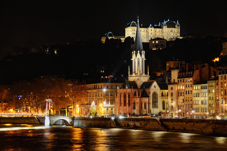 saint georges church next to the Saone river on fourviere hill at night