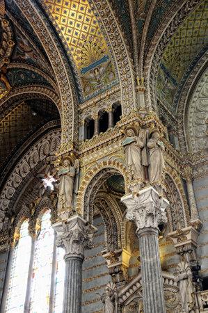 detail vault and columns inside Basilica of Notre Dame de Fourvière Editorial