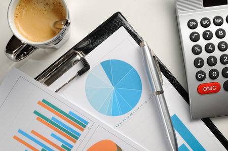 accountancy: Financial graphs and charts analysis top view