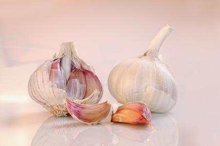 pinkish: two heads of garlic on a white and pinkish reflective background base Stock Photo
