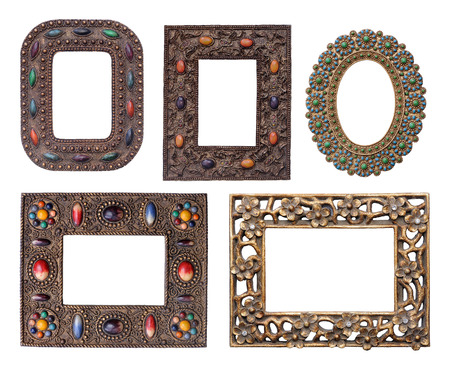 Five ornamental metal picture frames pack of different sizes photo