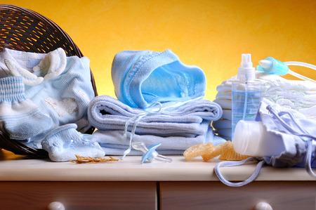 青の服やアクセサリーの衛生新生児 写真素材