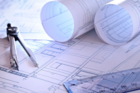 architecture project: architectural plans of a dwelling with blue tint close up Stock Photo