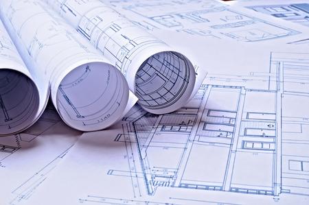 Plans architecturaux d'un logement avec une teinte bleue Banque d'images - 37371534