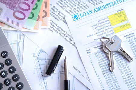 borrowed: Calculation of mortgage loan for the purchase of a new house paid in euros top view