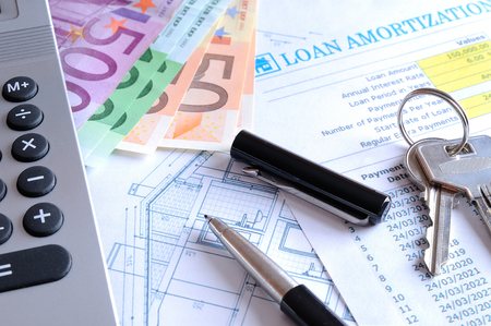 borrowed: Calculation of mortgage loan for the purchase of a new house paid in euros