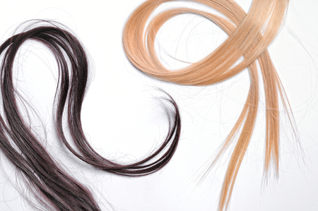 tines: Tufts of brown and blond straight hair with isolated white background