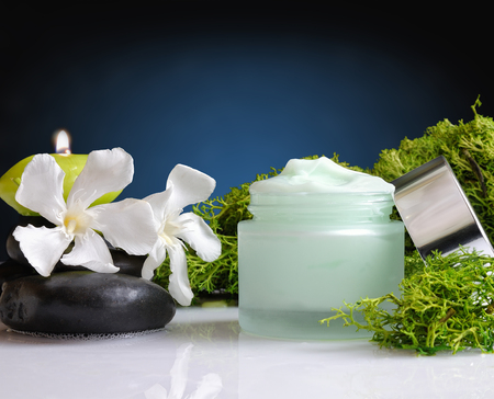 Glass cream jar open algae. Flowers, black stones and seaweed decoration. Windows background. Front view Stock Photo