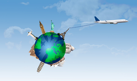 Concept of traveling. Representation plane taking all the most important monuments in the world photo