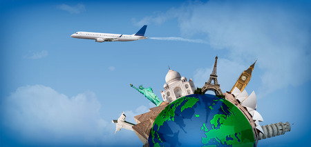 Concept of travel around the world with representation of the globe and monuments around Stock Photo