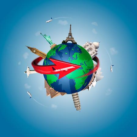 Concepto de viajar por el mundo con representacion del globo terraqueo y monumentos alrededor photo