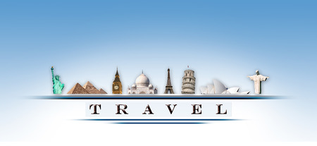 Representation travel with important monuments in the world photo