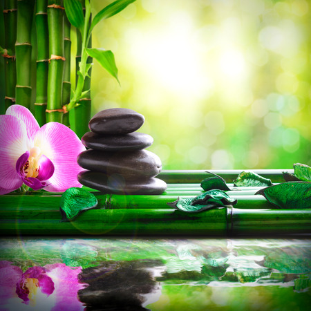 Stacked black stones, orchids and leaves on bamboo. Reflected in water in nature. Concept of calm and relaxation. Alternative treatments, massage, balance and meditation. Square composition.