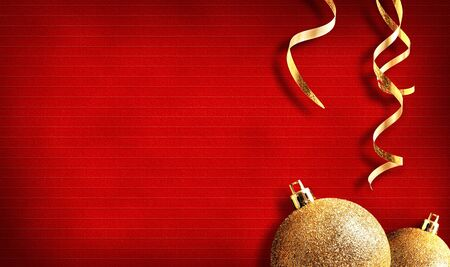 golden background: Christmas background with golden balls and ribbon. With texture lines. Horizontal composition Stock Photo