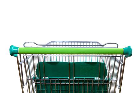 supermercado: Carro de compras vacío en el pasillo de un supermercado. Vista trasera con perspectiva. composición horizontal Foto de archivo