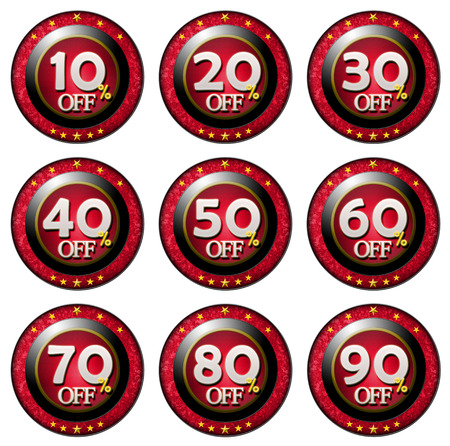 80 90: Red Tag with marked percentage discounts set