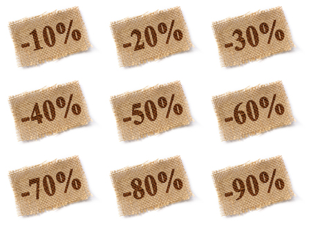 80 90: Brown fabric tag with marked percentage discounts set