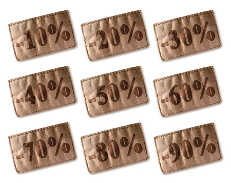 80 90: Brown leather tag with marked percentage discounts set