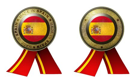 made in spain: Decoration or metallic gold seal with tape to distinguish original products from Spain. Set of 2 seals Made in message, and blank. Stock Photo