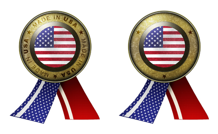 distinguish: Decoration or metallic gold seal with tape to distinguish original products from USA. Set of 2 seals Made in message, and blank. Stock Photo
