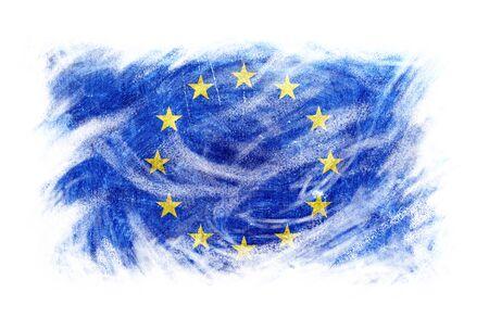 world flag: Europe flag artistic effect blackboard chalk erased. Isolated white.