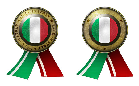 Decoration or metallic gold seal with tape to distinguish original products from Italy. Set of 2 seals Made in message, and blank. Stock Photo