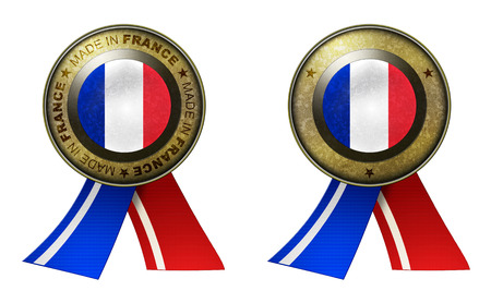 distinguish: Decoration or metallic gold seal with tape to distinguish original products from France. Set of 2 seals Made in message, and blank. Stock Photo