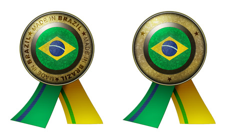 distinguish: Decoration or metallic gold seal with tape to distinguish original products from Brazil. Set of 2 seals Made in message, and blank. Stock Photo