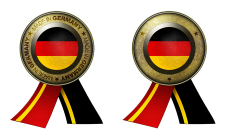 distinguish: Decoration or metallic gold seal with tape to distinguish original products from Germany. Set of 2 seals Made in message, and blank.