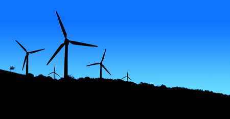 energy fields: Wind power plant in the mountains blue black