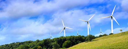 energy fields: Wind power plant in the mountains Stock Photo