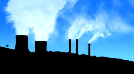 tree in field: Power generating factories in the mountains blue black