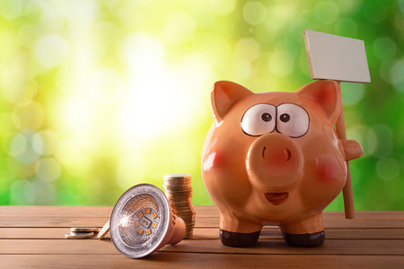 Concept of energy saving and efficiency with led bulb, coins and piggy bank with blank banner on wooden table and nature background with bokeh. Horizontal composition. Front view.