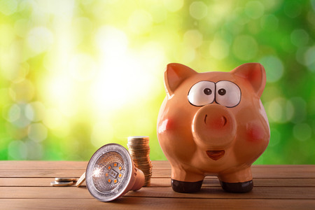Concept of energy saving and efficiency with led bulb, coins and piggy bank on wooden table and nature background with bokeh. Horizontal composition. Front view.