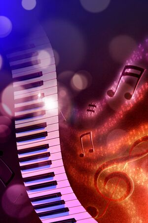 Conceptual illustration keyboard with flying notes, brightness and black red and blue background. Front view. Verticalcomposition.